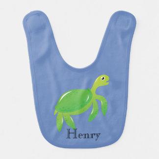 Personalized Green Turtle Bib