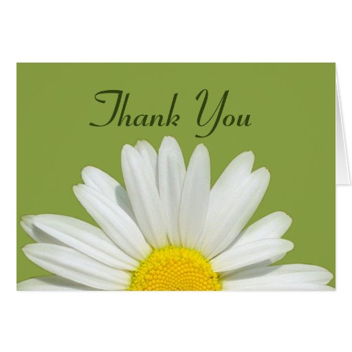 Personalized Green & White Daisy Thank You Card Greeting Card