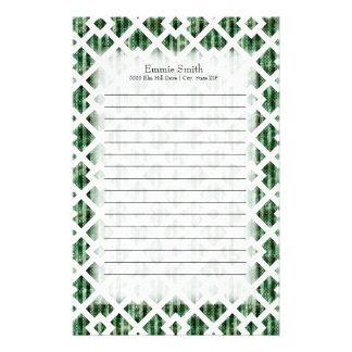 Personalized Green White Lattice Geometric Stationery