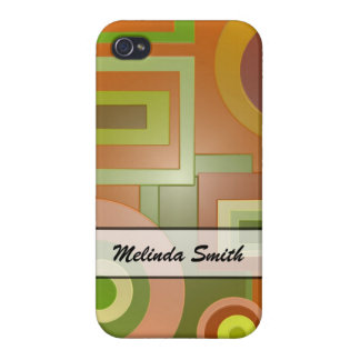 Personalized Green Yellow Geometric Shapes iPhone 4/4S Cases