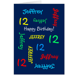 Personalized Greeting Card 12th Birthday, Blue