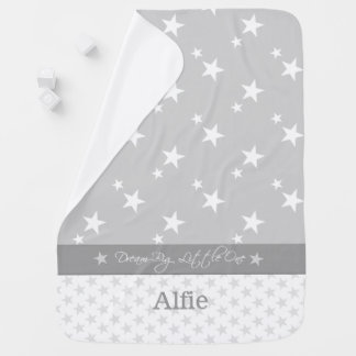 Personalized grey and white stars baby baby blanket