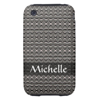 Personalized Grey black Deco Pattern Tough iPhone 3 Cover