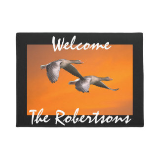 Personalized Grey Geese at Sunset Doormat