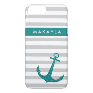 Personalized Grey Stripes and Teal Blue Anchor iPhone 7 Plus Case