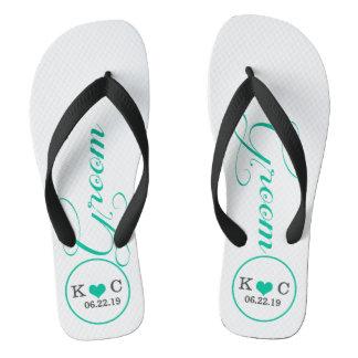 Personalized Groom (aqua) Thongs