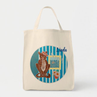 Personalized Grosery Tote Bag with Cat