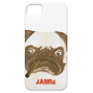 Personalized Grumpy Puggy with Cigar iPhone 5 Case