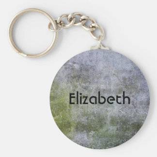 Personalized Grunge Stone Wall Texture Basic Round Button Key Ring