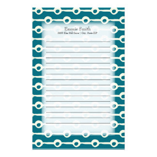 Personalized Grunge Teal and White Lines Circles Stationery