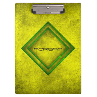 Personalized Grungy Mustard Geometric Clipboard