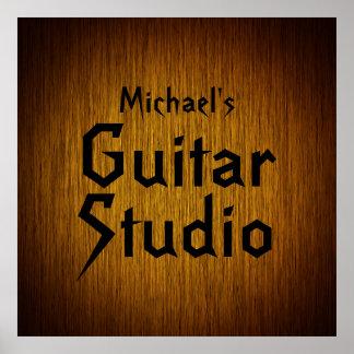 Personalized Guitar Studio Poster on Sunburst Wood
