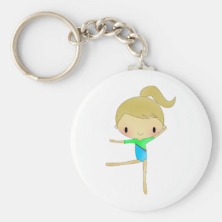 Personalized Gymnastics accessories Basic Round Button Key Ring