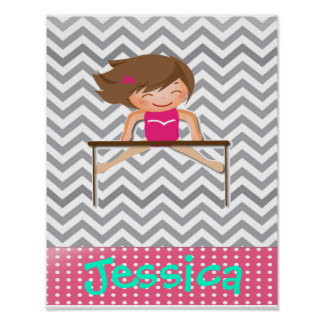 Personalized Gymnastics Girl Bar Posters