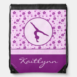 Personalized Gymnastics Purple Heart Floral Drawstring Bag
