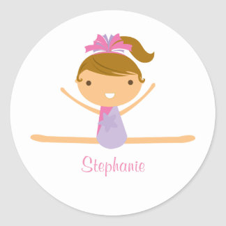 Personalized gymnastics split girl's kids stickers