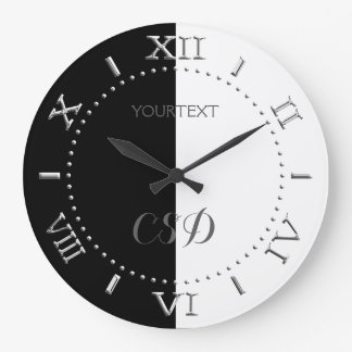 Personalized Half Black Half White Stripes Dial on Large Clock