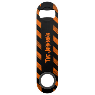 Personalized Halloween colors diagonal stripes Bar Key