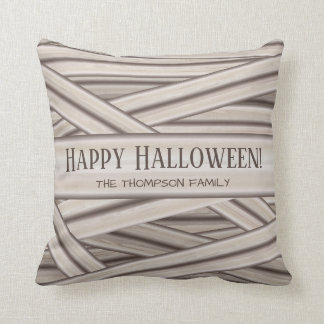 Personalized Halloween Mummy Stripes & Family Name Cushion