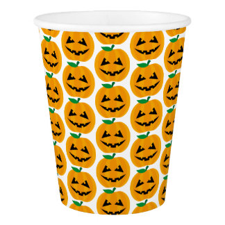 Personalized Halloween party orange pumpkin Paper Cup