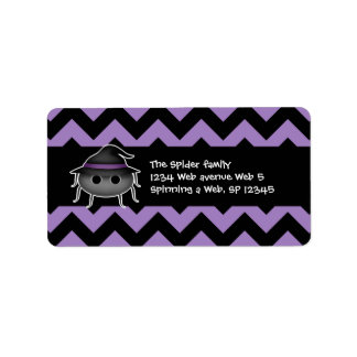 Personalized Halloween spider on chevron pattern Address Label