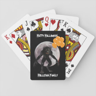 Personalized Halloween Werewolf With Balloons Playing Cards