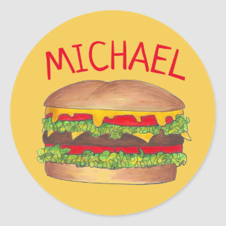 Personalized Hamburger Cheeseburger Burger Foodie Classic Round Sticker