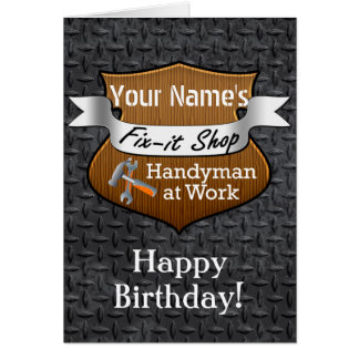 Personalized Handyman Fix-It Custom Name Birthday Card