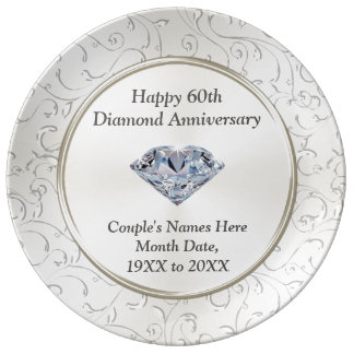 Personalized Happy 60th Diamond Anniversary Plate
