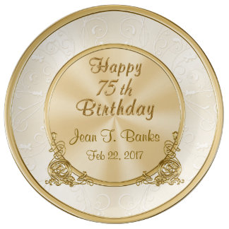 Personalized Happy 75th Birthday Porcelain Plate