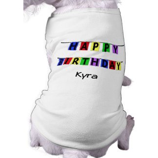 Personalized Happy Birthday Banner Sleeveless Dog Shirt