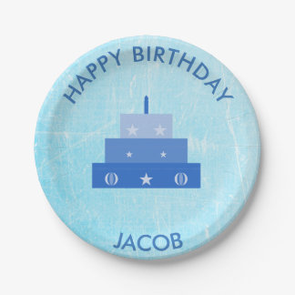 Personalized Happy Birthday Blue Cake Plates 7 Inch Paper Plate