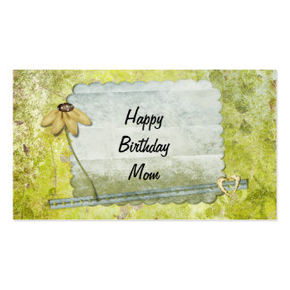 Personalized Happy Birthday Mom Flower Heart Business Cards