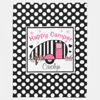 Personalized Happy Camper Fleece Blanket