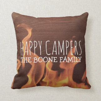 Personalized Happy Campers | Rustic Wood Campfire Cushion