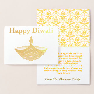 Personalized Happy Diwali Gold Foil Card