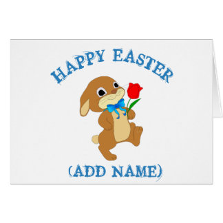 Personalized Happy Easter Bunny with Rose  Card