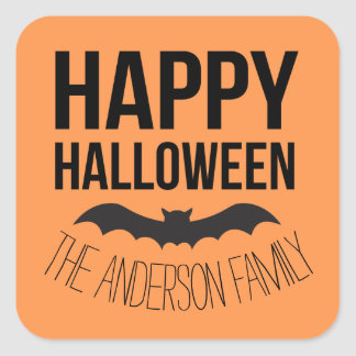 Personalized Happy Halloween Cartoon Bat Square Sticker