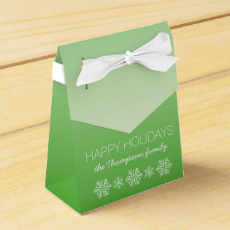 Personalized Happy Holidays Green Ombre Party Favour Boxes