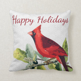 Personalized - Happy Holidays Winter Cardinal Cushion
