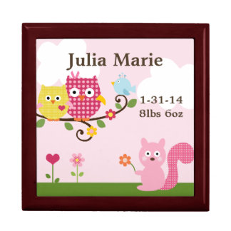 Personalized Happy Owls on Tree Keepsake Box