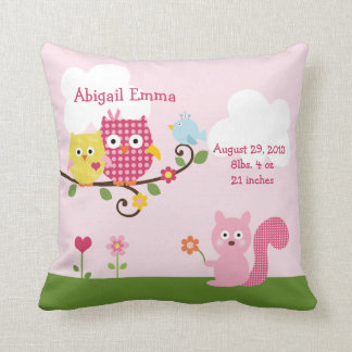 Personalized Happy Tree Owls Pillow Keepsake Cushions
