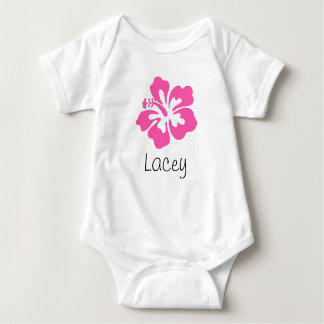 Personalized Hawaiian Flower Hibiscus Pink Baby Bodysuit