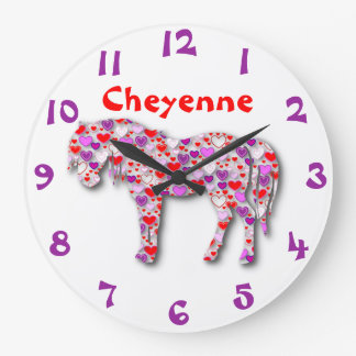 Personalized Heart Horse Purple, Pink and Red Pony Large Clock