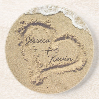 Personalized Heart in the Sand coasters