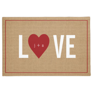 Personalized Heart Initial Jute Doormat