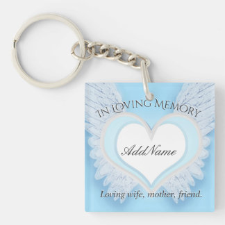 Personalized Heart Memorial Double-Sided Square Acrylic Key Ring