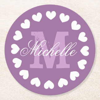Personalized heart monogram wedding party coasters round paper coaster