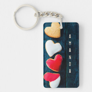 Personalized Heart Shaped Cookies Keychain