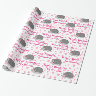 Personalized Hedgehog Birthday Wrapping Paper